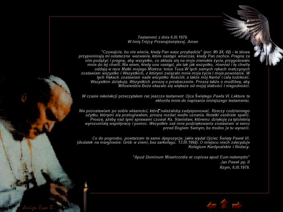 Testament z dnia 6.III.1979. W Imię Trójcy Przenajświętszej.