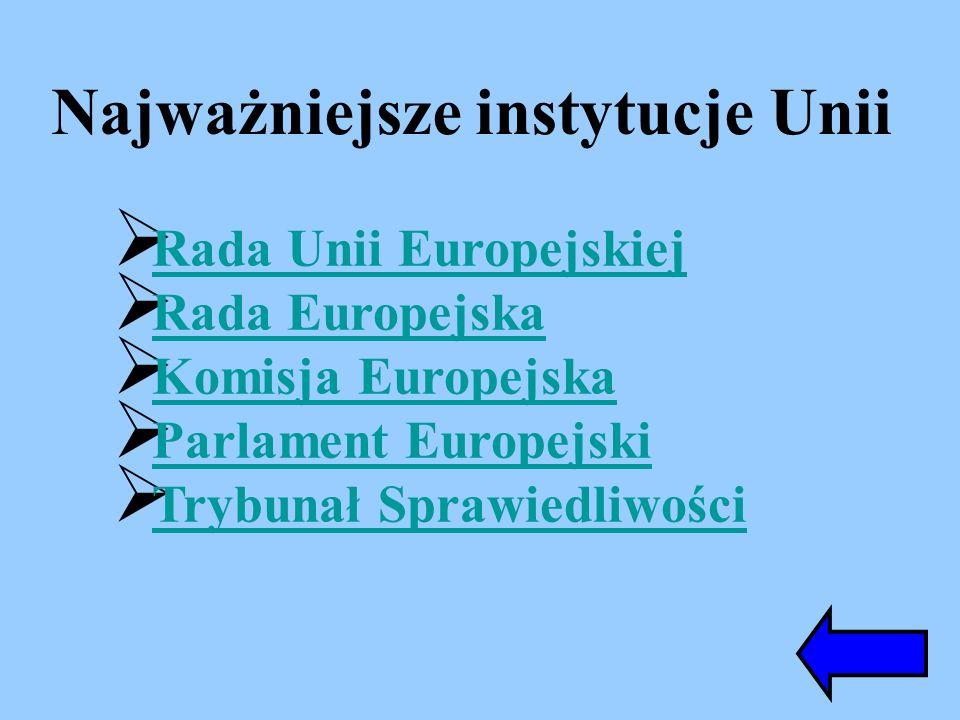 Najważniejsze instytucje Unii Rada Unii Europejskiej Rada Europejska Komisja Europejska Parlament Europejski Trybunał Sprawiedliwości