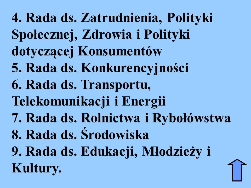 4. Rada ds. Zatrudnienia, Polityki Społecznej, Zdrowia i Polityki dotyczącej Konsumentów 5. Rada ds. Konkurencyjności 6. Rada ds. Transportu, Telekomu