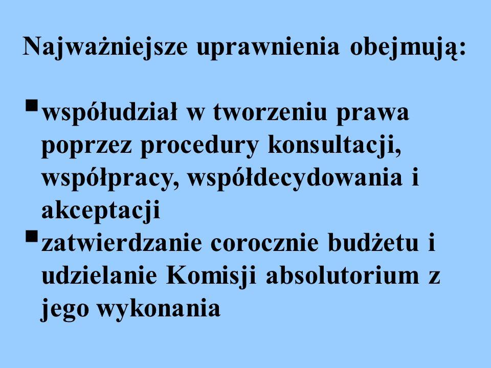 Najważniejsze uprawnienia obejmują: współudział w tworzeniu prawa poprzez procedury konsultacji, współpracy, współdecydowania i akceptacji zatwierdzan