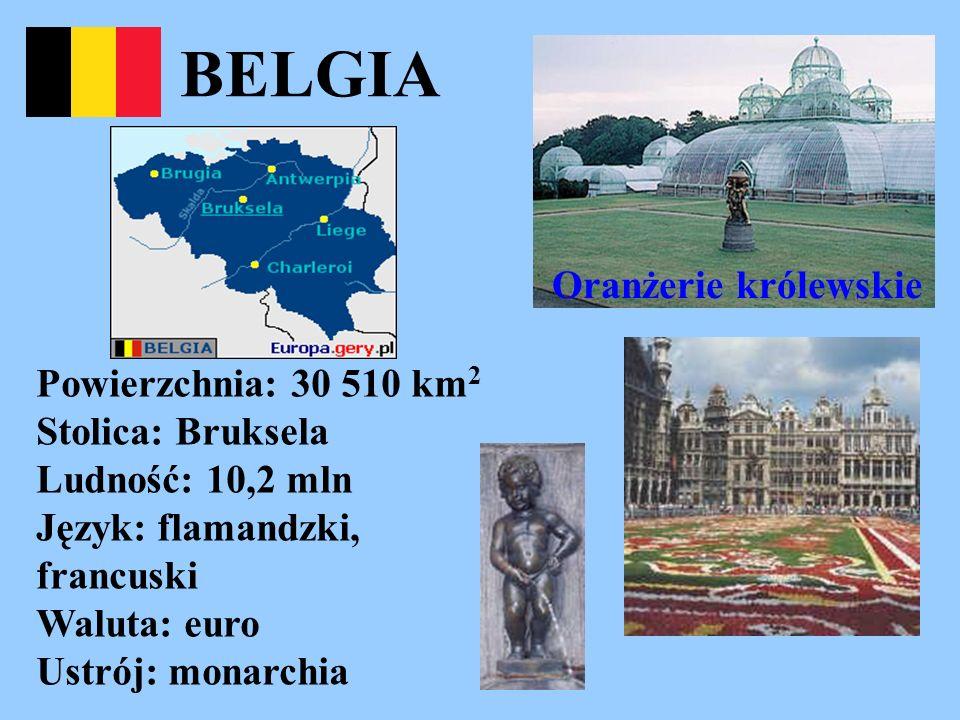 BELGIA Oranżerie królewskie Powierzchnia: 30 510 km 2 Stolica: Bruksela Ludność: 10,2 mln Język: flamandzki, francuski Waluta: euro Ustrój: monarchia