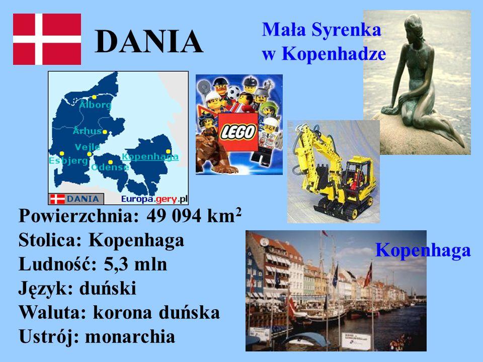 DANIA Powierzchnia: 49 094 km 2 Stolica: Kopenhaga Ludność: 5,3 mln Język: duński Waluta: korona duńska Ustrój: monarchia Mała Syrenka w Kopenhadze Ko