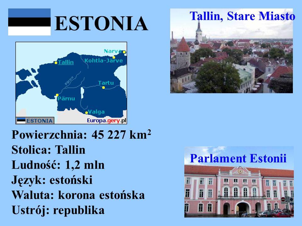 ESTONIA Powierzchnia: 45 227 km 2 Stolica: Tallin Ludność: 1,2 mln Język: estoński Waluta: korona estońska Ustrój: republika Tallin, Stare Miasto Parl