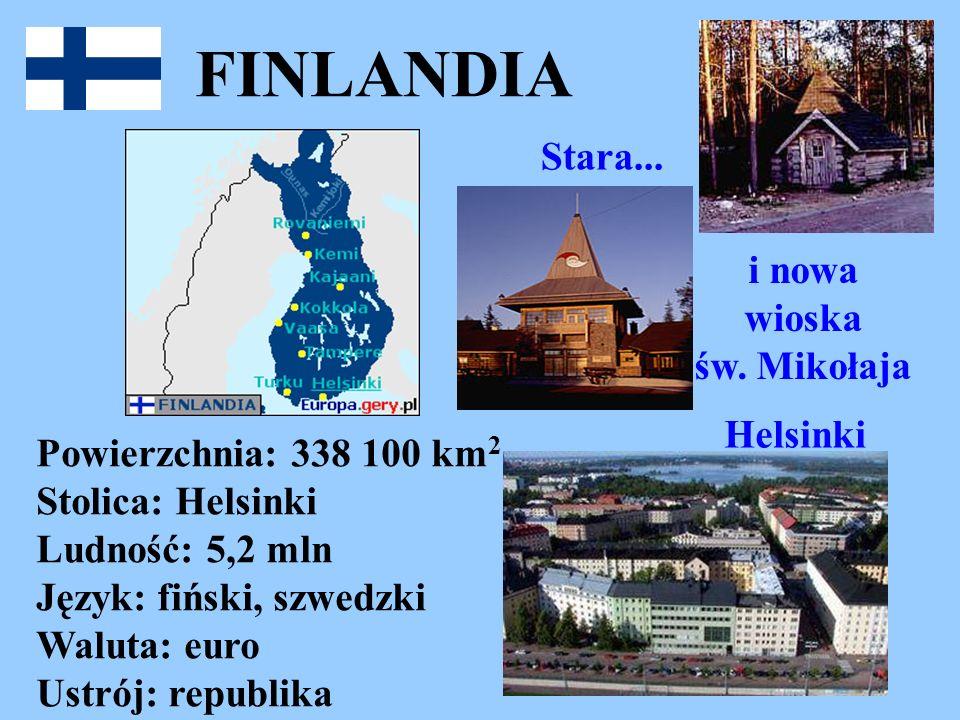 FINLANDIA Powierzchnia: 338 100 km 2 Stolica: Helsinki Ludność: 5,2 mln Język: fiński, szwedzki Waluta: euro Ustrój: republika Stara... i nowa wioska