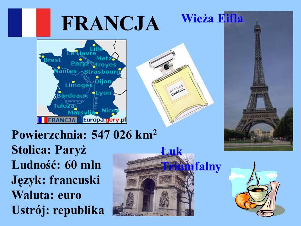 FRANCJA Wieża Eifla Powierzchnia: 547 026 km 2 Stolica: Paryż Ludność: 60 mln Język: francuski Waluta: euro Ustrój: republika Łuk Triumfalny