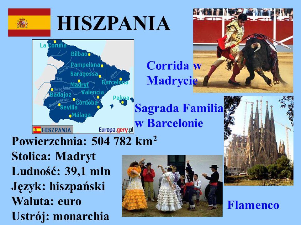 HISZPANIA Powierzchnia: 504 782 km 2 Stolica: Madryt Ludność: 39,1 mln Język: hiszpański Waluta: euro Ustrój: monarchia Corrida w Madrycie Flamenco Sa