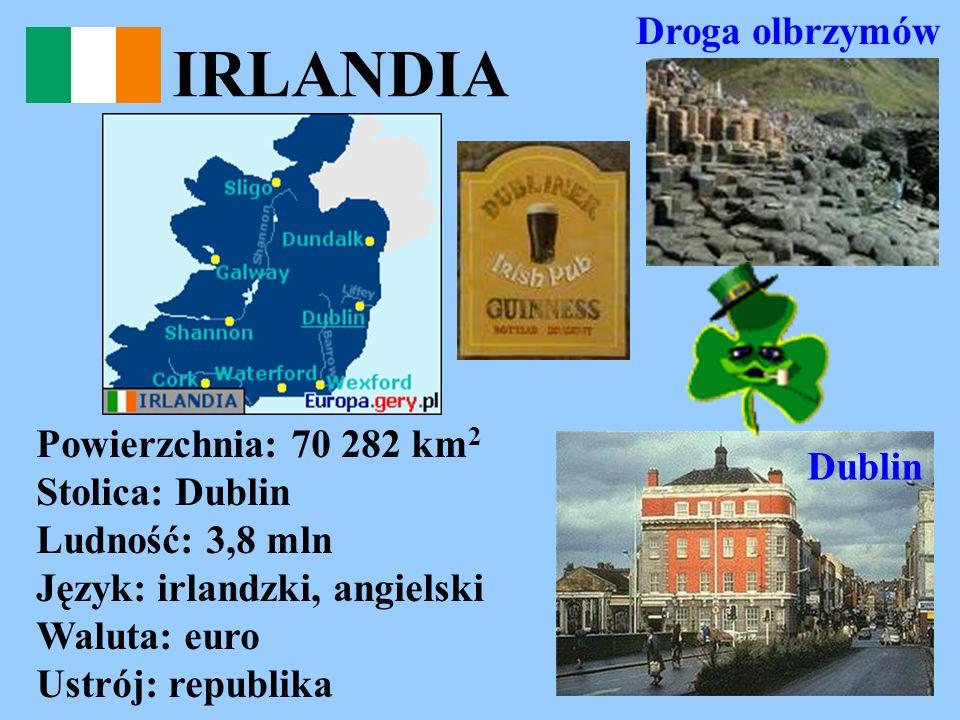 IRLANDIA Powierzchnia: 70 282 km 2 Stolica: Dublin Ludność: 3,8 mln Język: irlandzki, angielski Waluta: euro Ustrój: republika Droga olbrzymów Dublin