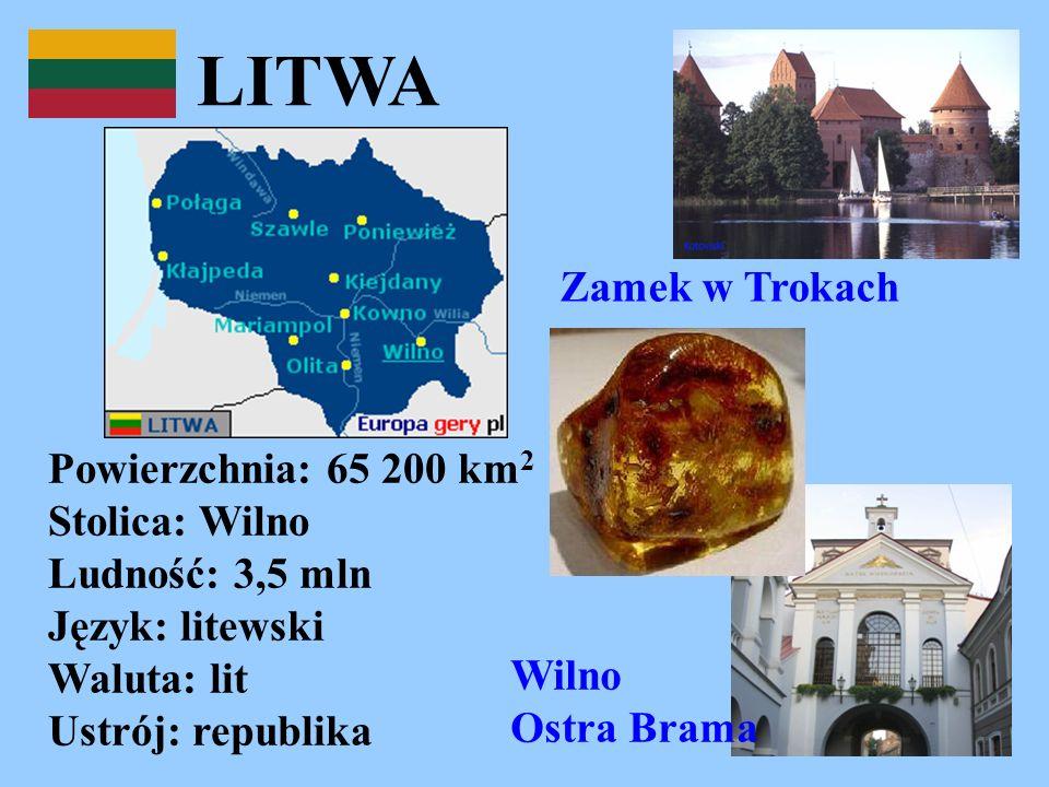 LITWA Powierzchnia: 65 200 km 2 Stolica: Wilno Ludność: 3,5 mln Język: litewski Waluta: lit Ustrój: republika Zamek w Trokach Wilno Ostra Brama