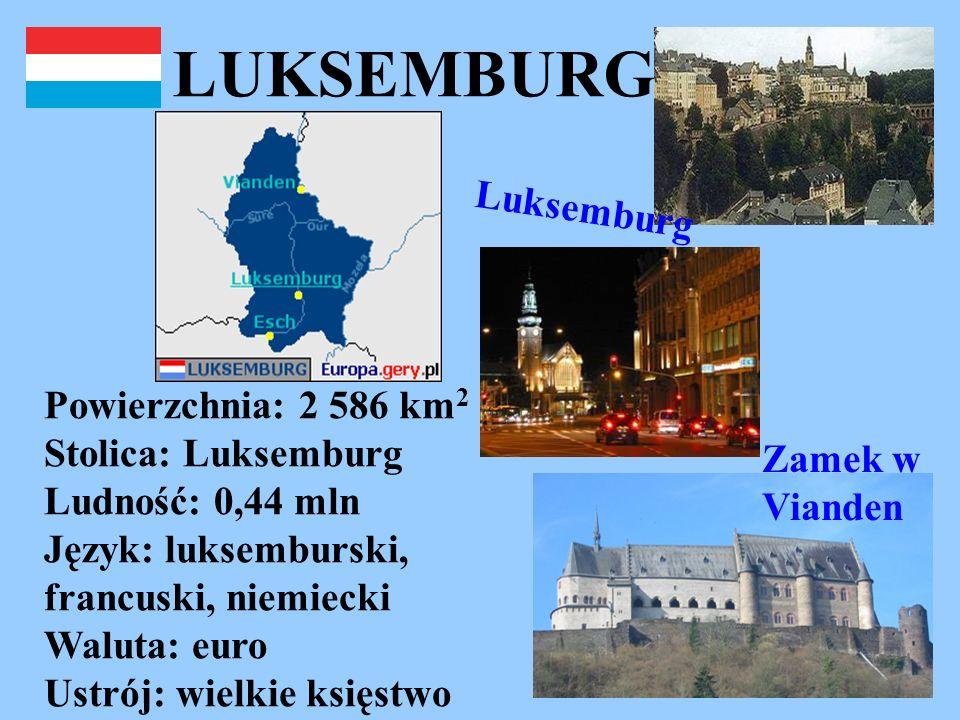 LUKSEMBURG Powierzchnia: 2 586 km 2 Stolica: Luksemburg Ludność: 0,44 mln Język: luksemburski, francuski, niemiecki Waluta: euro Ustrój: wielkie księs