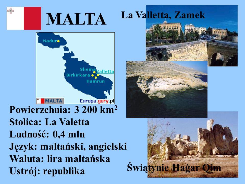 MALTA Powierzchnia: 3 200 km 2 Stolica: La Valetta Ludność: 0,4 mln Język: maltański, angielski Waluta: lira maltańska Ustrój: republika La Valletta,