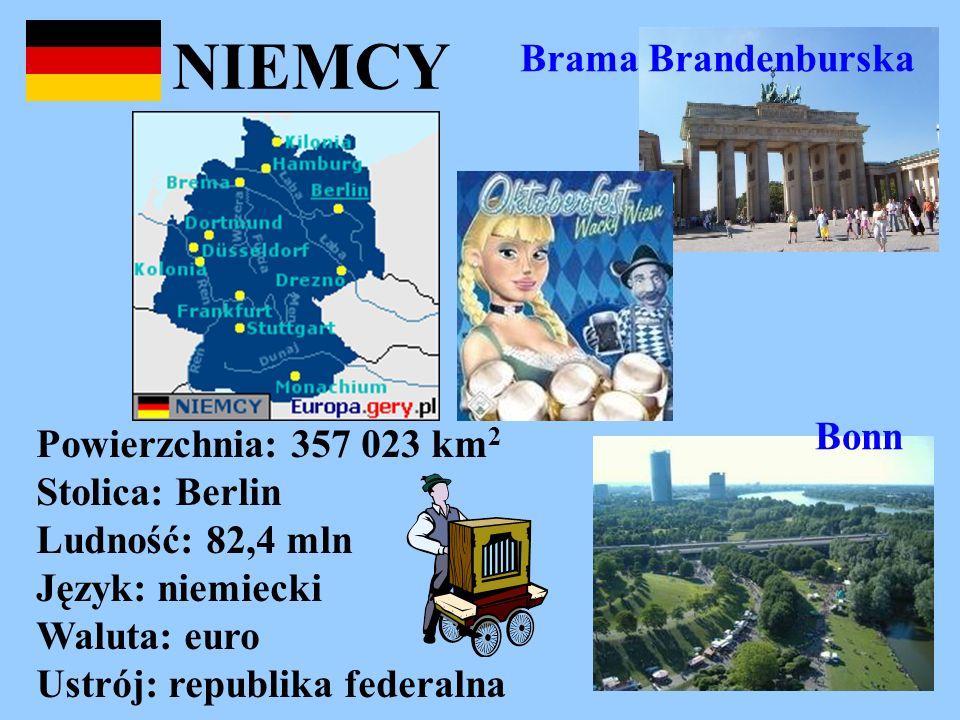 NIEMCY Powierzchnia: 357 023 km 2 Stolica: Berlin Ludność: 82,4 mln Język: niemiecki Waluta: euro Ustrój: republika federalna Brama Brandenburska Bonn