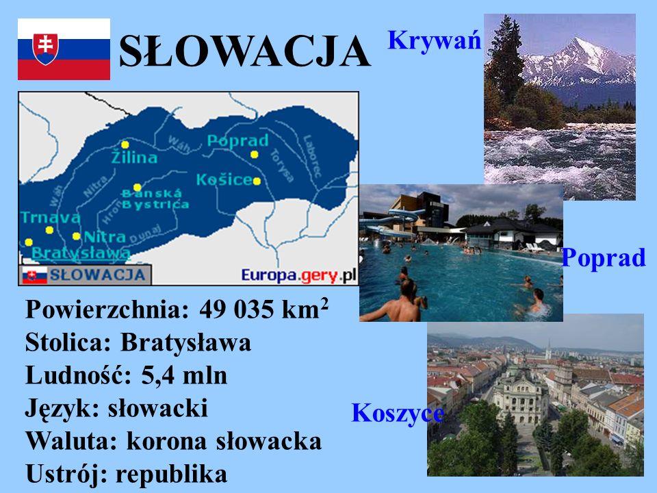 SŁOWACJA Powierzchnia: 49 035 km 2 Stolica: Bratysława Ludność: 5,4 mln Język: słowacki Waluta: korona słowacka Ustrój: republika Koszyce Krywań Popra