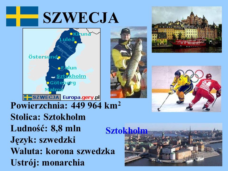 SZWECJA Powierzchnia: 449 964 km 2 Stolica: Sztokholm Ludność: 8,8 mln Język: szwedzki Waluta: korona szwedzka Ustrój: monarchia Sztokholm