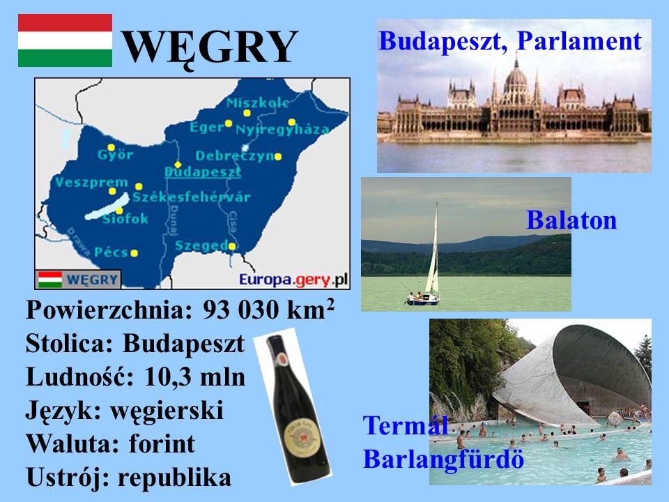 WĘGRY Powierzchnia: 93 030 km 2 Stolica: Budapeszt Ludność: 10,3 mln Język: węgierski Waluta: forint Ustrój: republika Budapeszt, Parlament Termál Bar