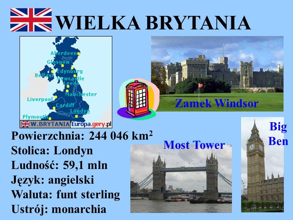 WIELKA BRYTANIA Powierzchnia: 244 046 km 2 Stolica: Londyn Ludność: 59,1 mln Język: angielski Waluta: funt sterling Ustrój: monarchia Zamek Windsor Bi