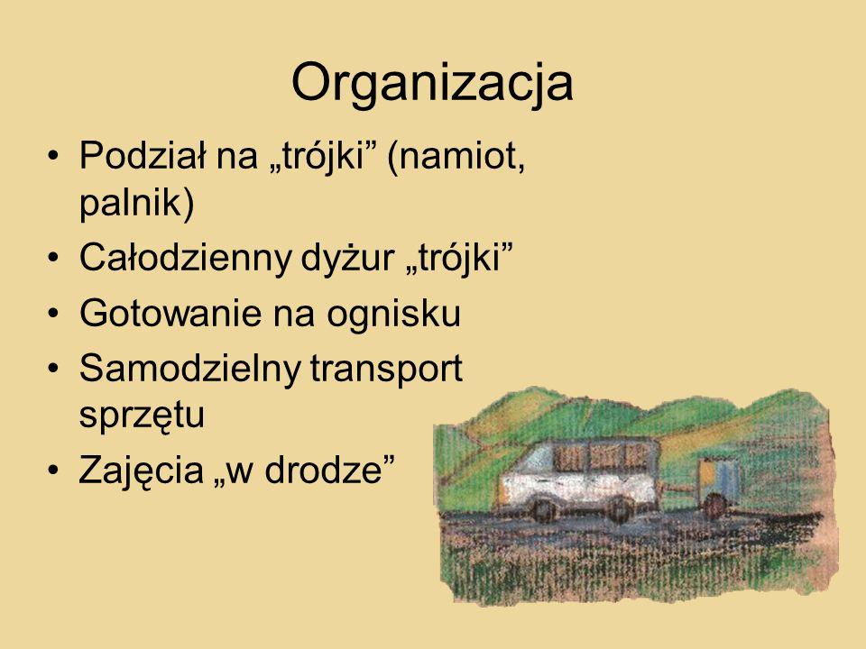 Organizacja Podział na trójki (namiot, palnik) Całodzienny dyżur trójki Gotowanie na ognisku Samodzielny transport sprzętu Zajęcia w drodze