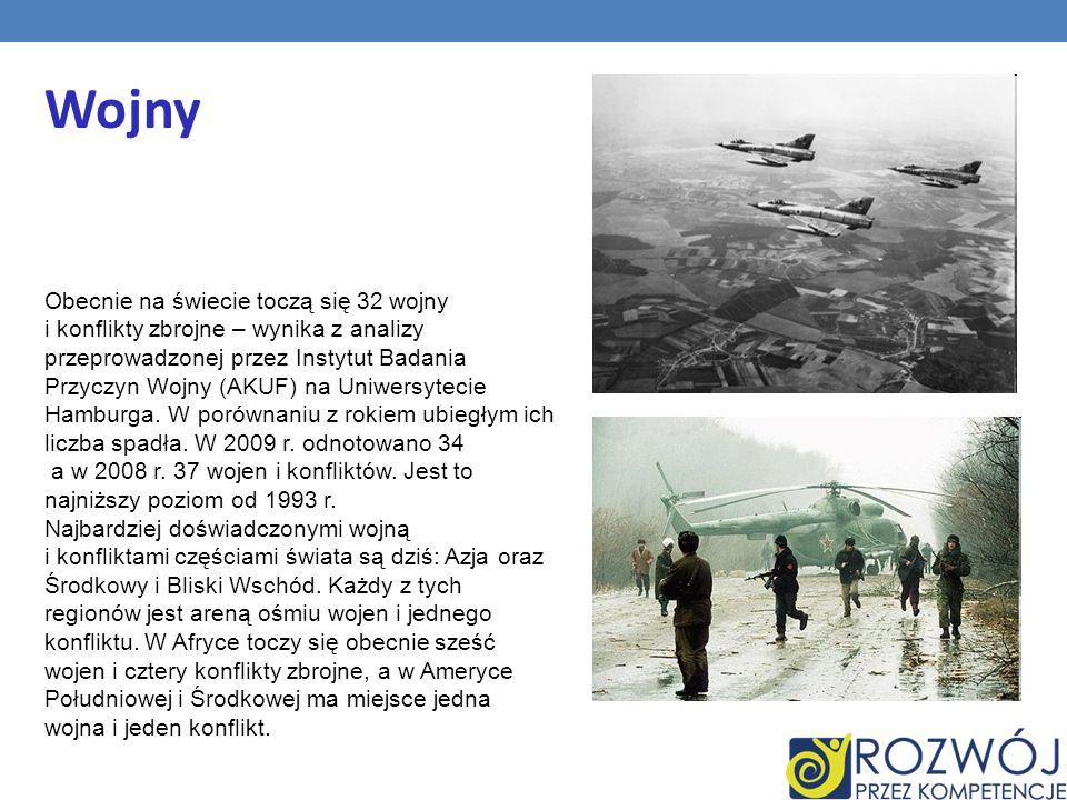 Wojny Obecnie na świecie toczą się 32 wojny i konflikty zbrojne – wynika z analizy przeprowadzonej przez Instytut Badania Przyczyn Wojny (AKUF) na Uni