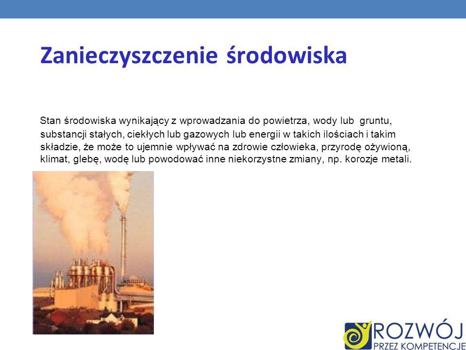 Zanieczyszczenie środowiska Stan środowiska wynikający z wprowadzania do powietrza, wody lub gruntu, substancji stałych, ciekłych lub gazowych lub ene