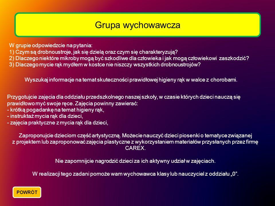 Grupa wychowawcza W grupie odpowiedzcie na pytania: 1) Czym są drobnoustroje, jak się dzielą oraz czym się charakteryzują? 2) Dlaczego niektóre mikrob