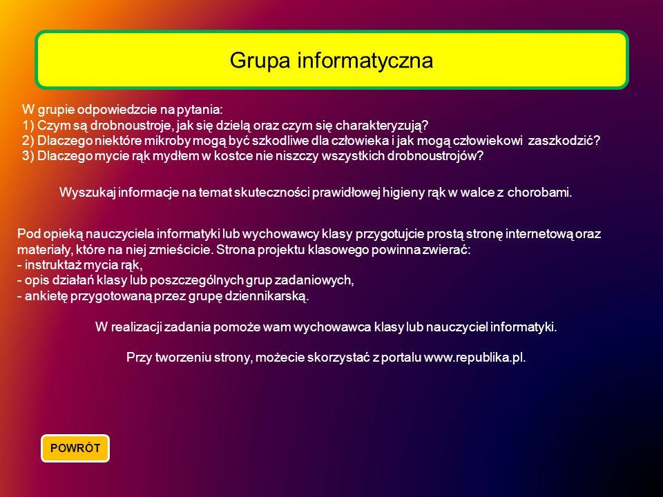 Grupa informatyczna W grupie odpowiedzcie na pytania: 1) Czym są drobnoustroje, jak się dzielą oraz czym się charakteryzują? 2) Dlaczego niektóre mikr