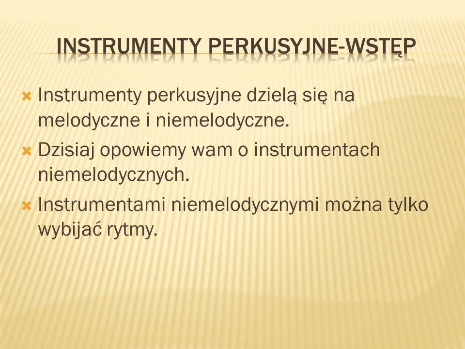 Instrumenty perkusyjne dzielą się na melodyczne i niemelodyczne. Dzisiaj opowiemy wam o instrumentach niemelodycznych. Instrumentami niemelodycznymi m