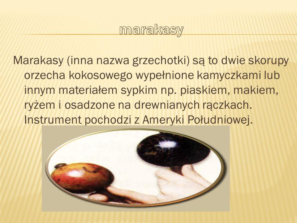 Marakasy (inna nazwa grzechotki) są to dwie skorupy orzecha kokosowego wypełnione kamyczkami lub innym materiałem sypkim np. piaskiem, makiem, ryżem i
