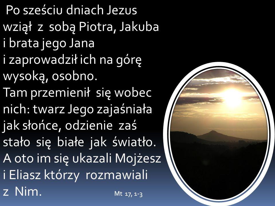 Po sześciu dniach Jezus wziął z sobą Piotra, Jakuba i brata jego Jana i zaprowadził ich na górę wysoką, osobno. Tam przemienił się wobec nich: twarz J