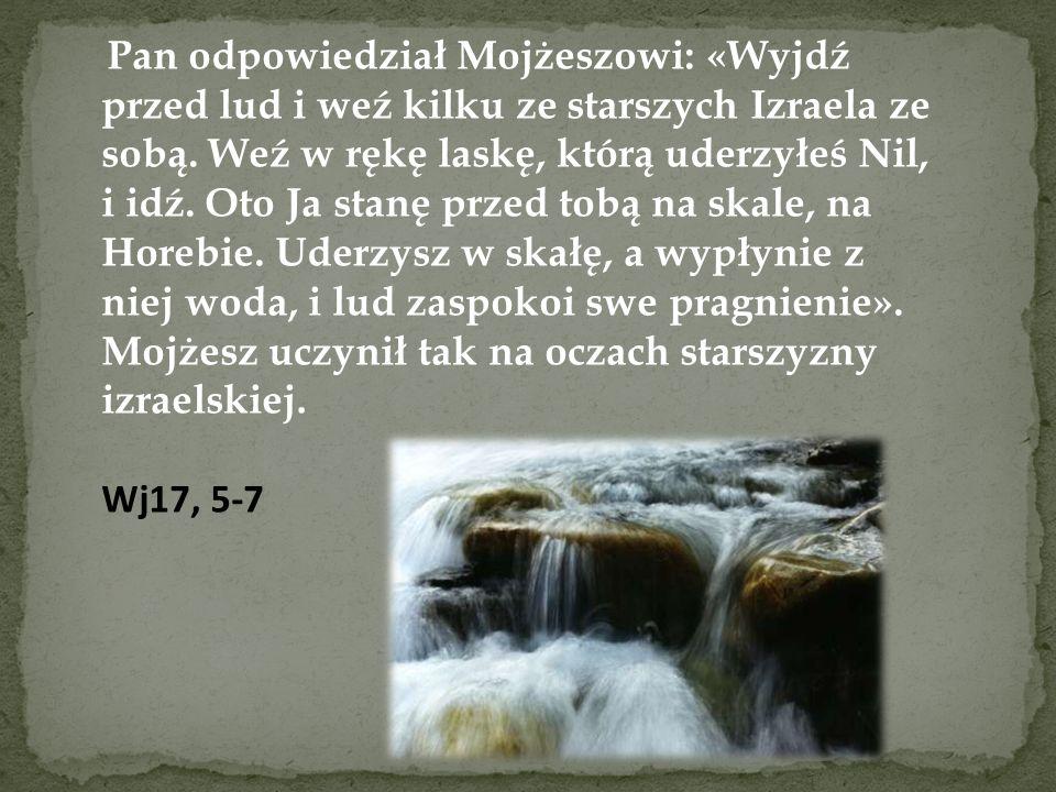 Pan odpowiedział Mojżeszowi: «Wyjdź przed lud i weź kilku ze starszych Izraela ze sobą. Weź w rękę laskę, którą uderzyłeś Nil, i idź. Oto Ja stanę prz