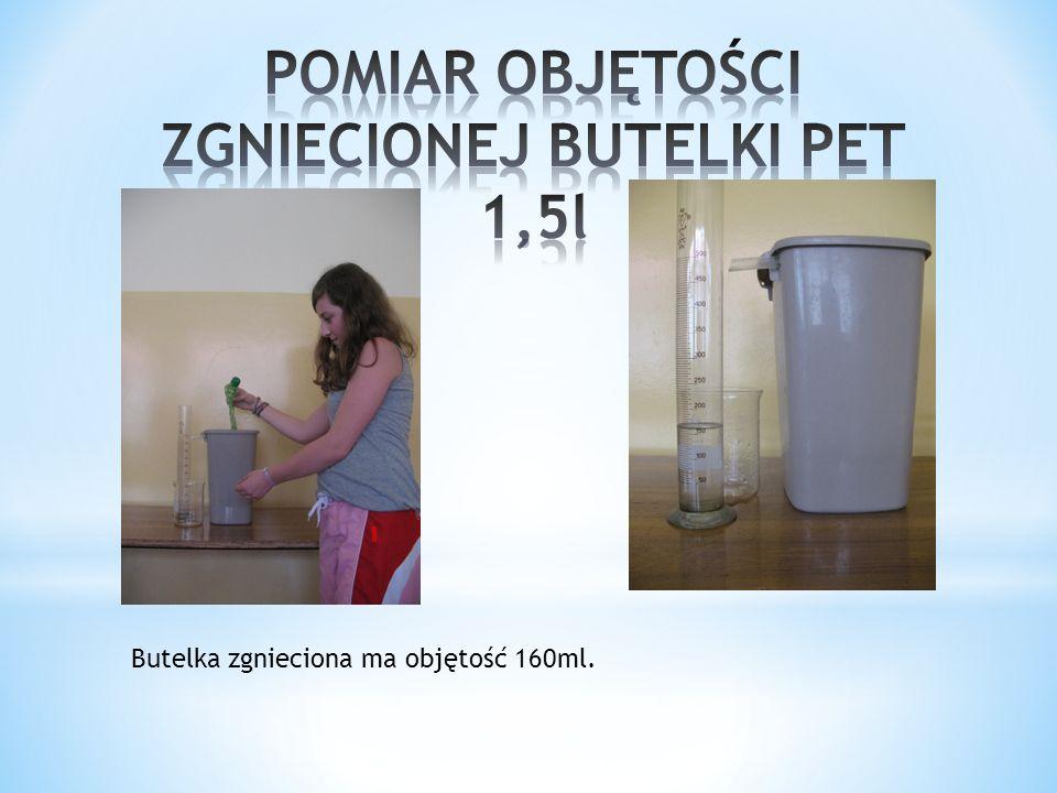 Butelka niezgnieciona ma objętość 1550 ml.