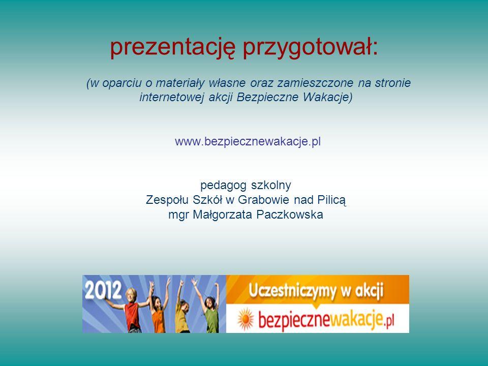 prezentację przygotował: (w oparciu o materiały własne oraz zamieszczone na stronie internetowej akcji Bezpieczne Wakacje) www.bezpiecznewakacje.pl pedagog szkolny Zespołu Szkół w Grabowie nad Pilicą mgr Małgorzata Paczkowska
