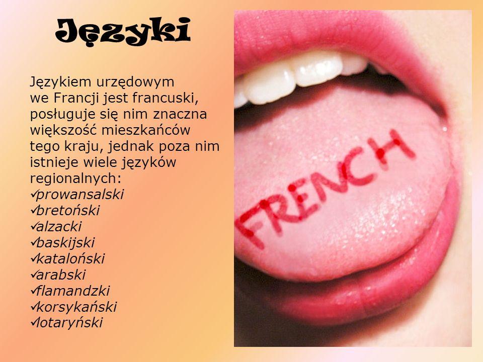 Jezyki Językiem urzędowym we Francji jest francuski, posługuje się nim znaczna większość mieszkańców tego kraju, jednak poza nim istnieje wiele językó