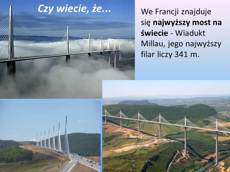 We Francji znajduje się najwyższy most na świecie - Wiadukt Millau, jego najwyższy filar liczy 341 m. Czy wiecie, że...