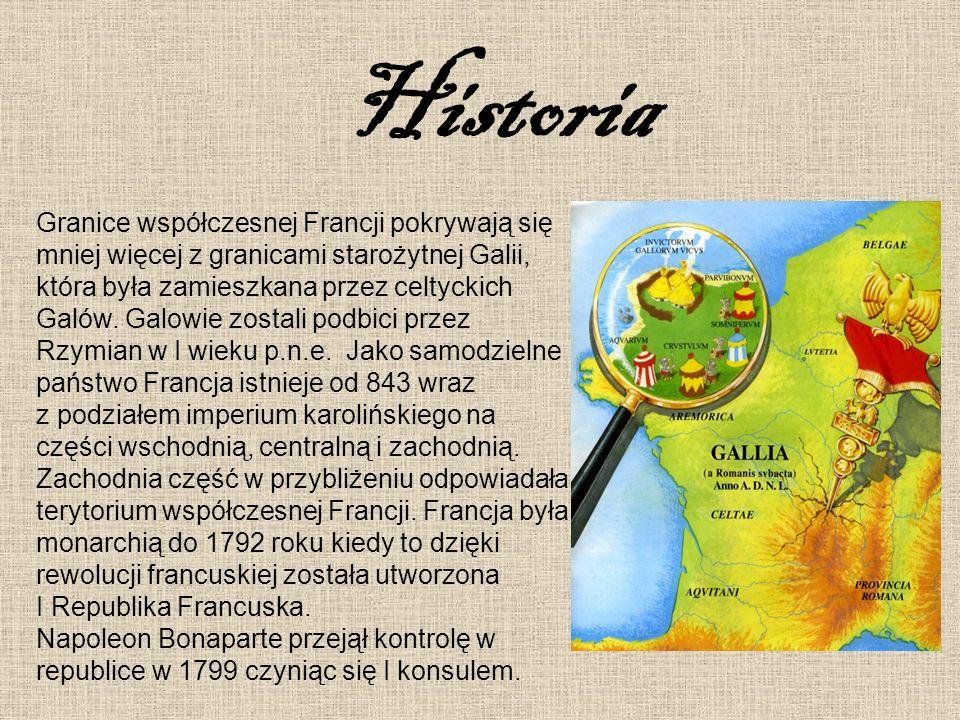 Historia Granice współczesnej Francji pokrywają się mniej więcej z granicami starożytnej Galii, która była zamieszkana przez celtyckich Galów. Galowie