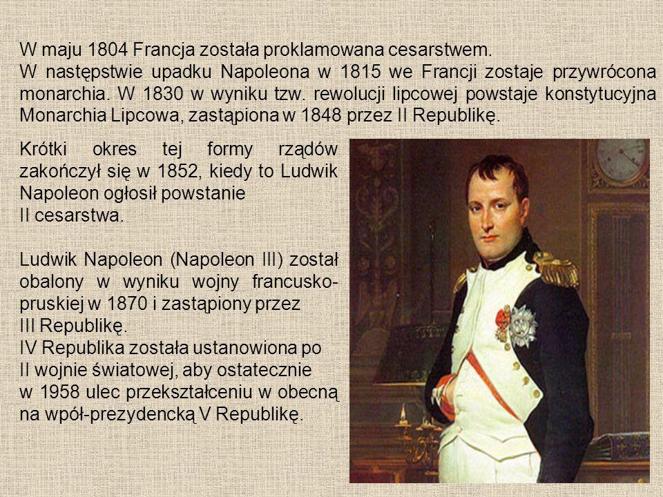 Krótki okres tej formy rządów zakończył się w 1852, kiedy to Ludwik Napoleon ogłosił powstanie II cesarstwa. Ludwik Napoleon (Napoleon III) został oba