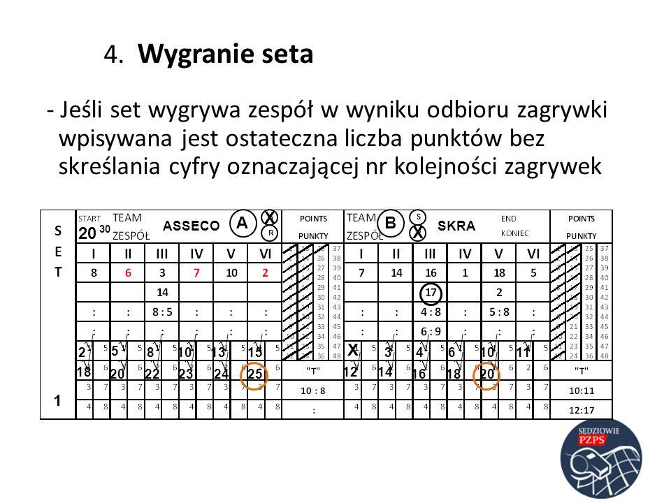 ASSECOSKRA AB RR SS 20 30 23 5 486 4. Wygranie seta - Jeśli set wygrywa zespół w wyniku odbioru zagrywki wpisywana jest ostateczna liczba punktów bez