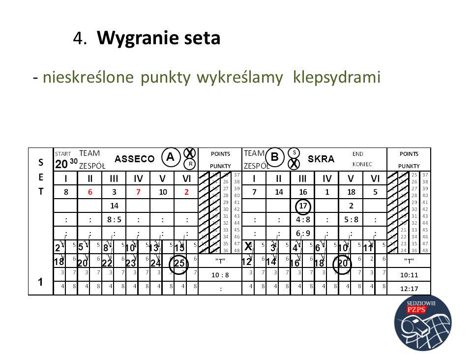ASSECOSKRA AB RR SS 20 30 23 5 486 4. Wygranie seta - nieskreślone punkty wykreślamy klepsydrami 10 1113 141812 15 2523221620241820 X X X