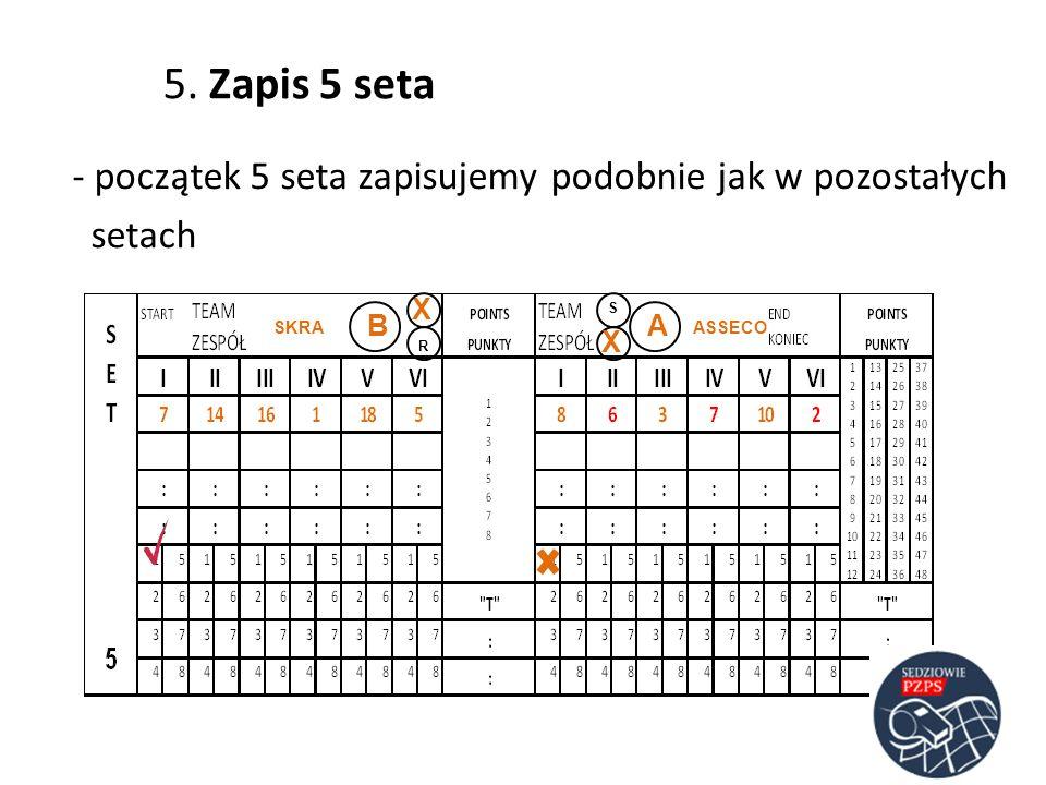 - początek 5 seta zapisujemy podobnie jak w pozostałych setach ASSECOSKRA AB S 5. Zapis 5 seta X X R