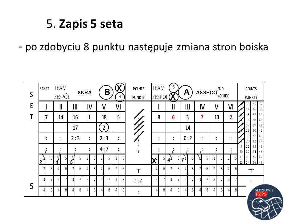 - po zdobyciu 8 punktu następuje zmiana stron boiska ASSECOSKRA AB R S 2 4 74 5 5. Zapis 5 seta X X X