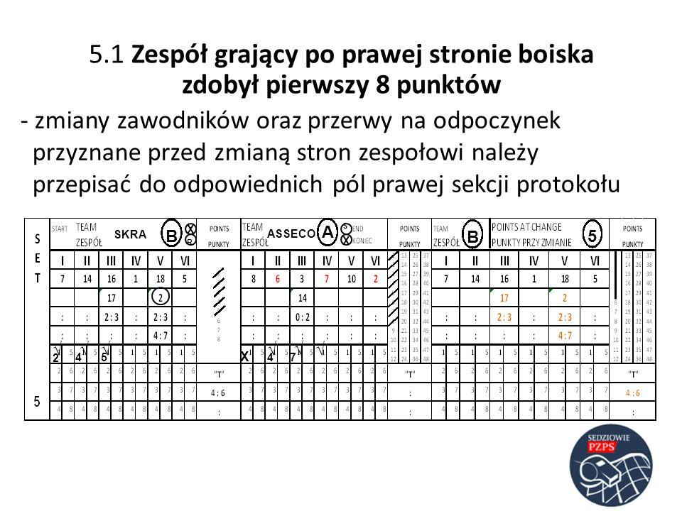 SKRA ASSECO B B A - zmiany zawodników oraz przerwy na odpoczynek przyznane przed zmianą stron zespołowi należy przepisać do odpowiednich pól prawej se
