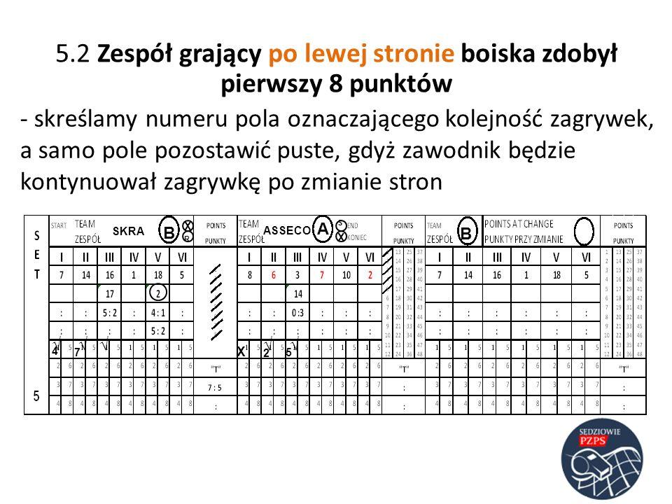 SKRA ASSECO B B A - skreślamy numeru pola oznaczającego kolejność zagrywek, a samo pole pozostawić puste, gdyż zawodnik będzie kontynuował zagrywkę po