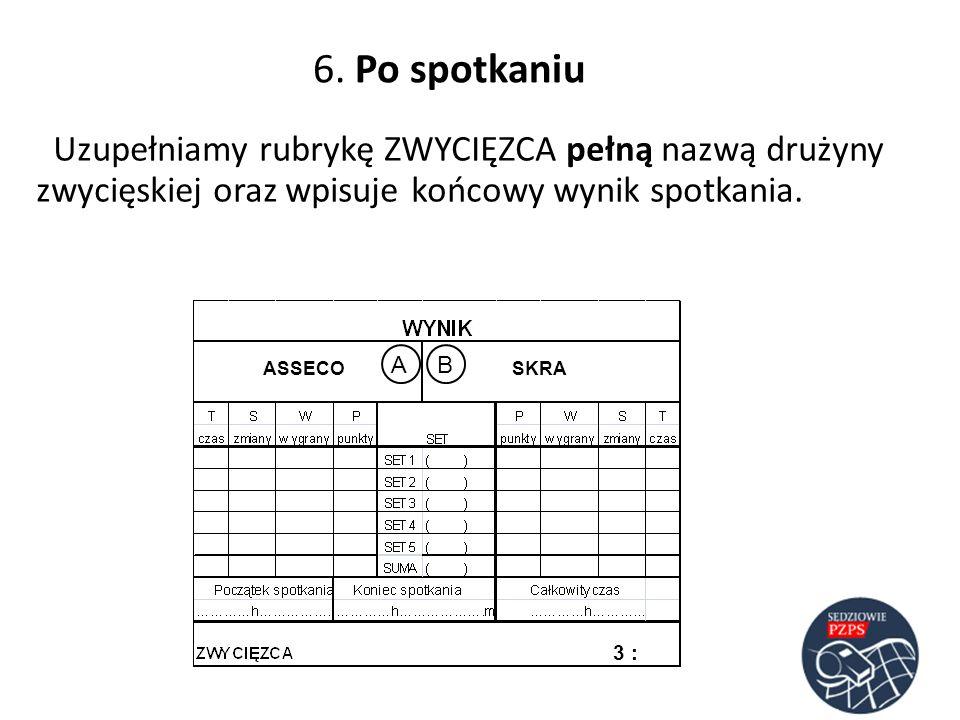 6. Po spotkaniu Uzupełniamy rubrykę ZWYCIĘZCA pełną nazwą drużyny zwycięskiej oraz wpisuje końcowy wynik spotkania. ASSECOSKRA AB 3 :