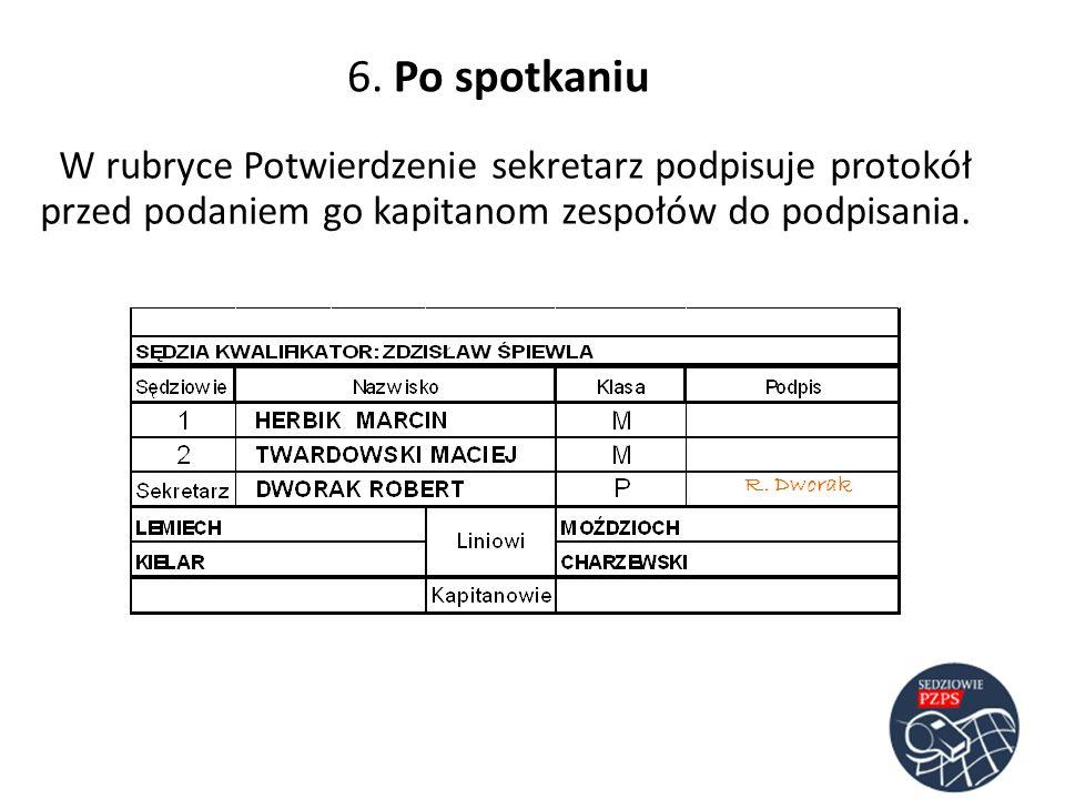 6. Po spotkaniu W rubryce Potwierdzenie sekretarz podpisuje protokół przed podaniem go kapitanom zespołów do podpisania. R. Dworak