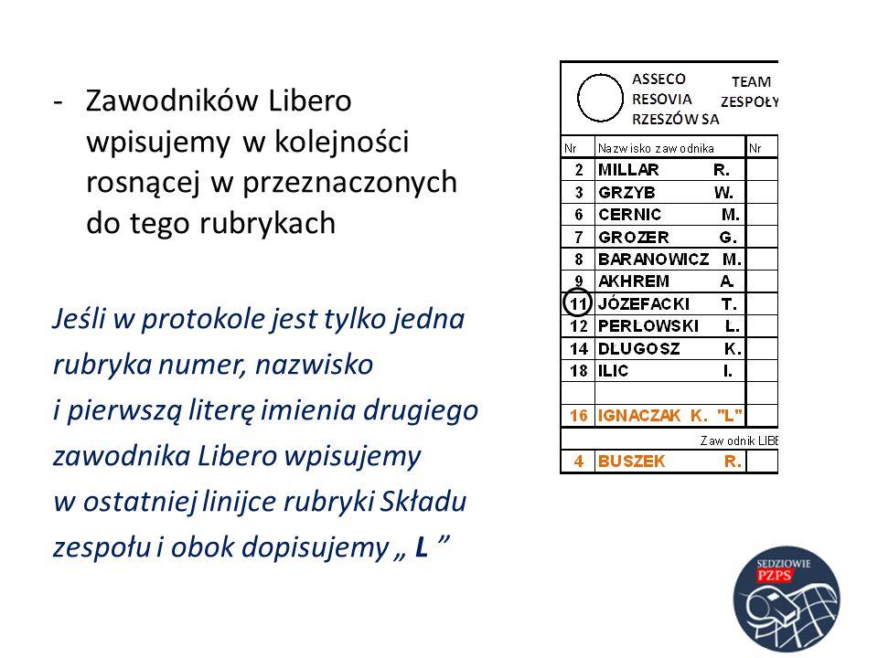 Jeśli w protokole jest tylko jedna rubryka numer, nazwisko i pierwszą literę imienia drugiego zawodnika Libero wpisujemy w ostatniej linijce rubryki S