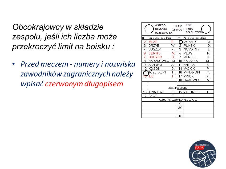 Przed meczem - numery i nazwiska zawodników zagranicznych należy wpisać czerwonym długopisem