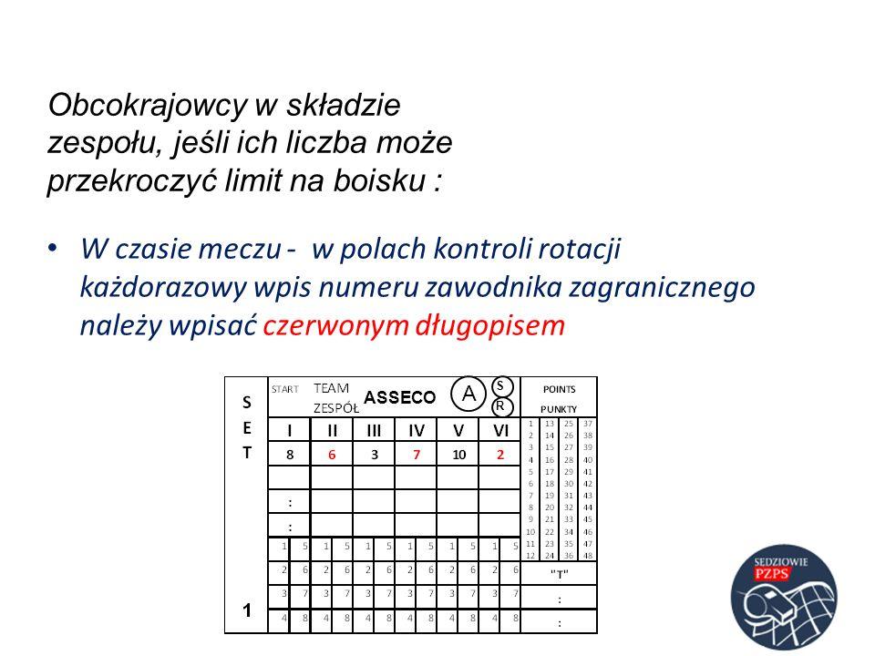 Obcokrajowcy w składzie zespołu, jeśli ich liczba może przekroczyć limit na boisku : W czasie meczu - w polach kontroli rotacji każdorazowy wpis numer