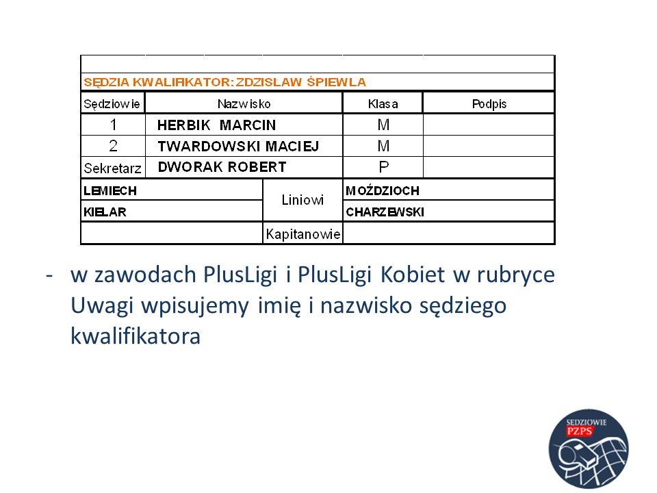 -w zawodach PlusLigi i PlusLigi Kobiet w rubryce Uwagi wpisujemy imię i nazwisko sędziego kwalifikatora