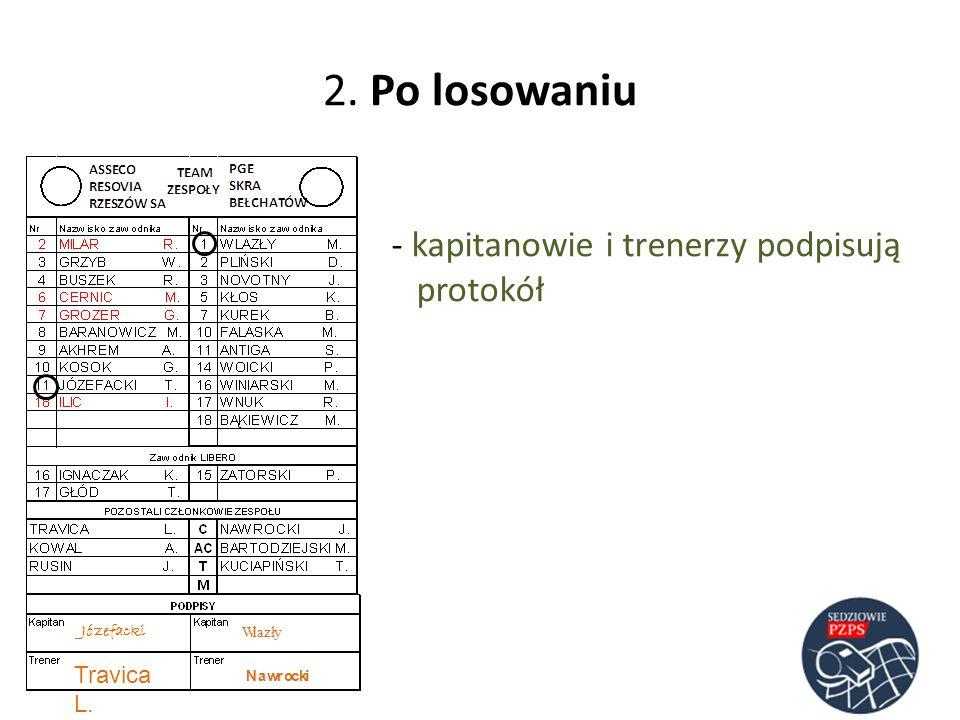 2. Po losowaniu - kapitanowie i trenerzy podpisują protokół Józefacki Travica L.