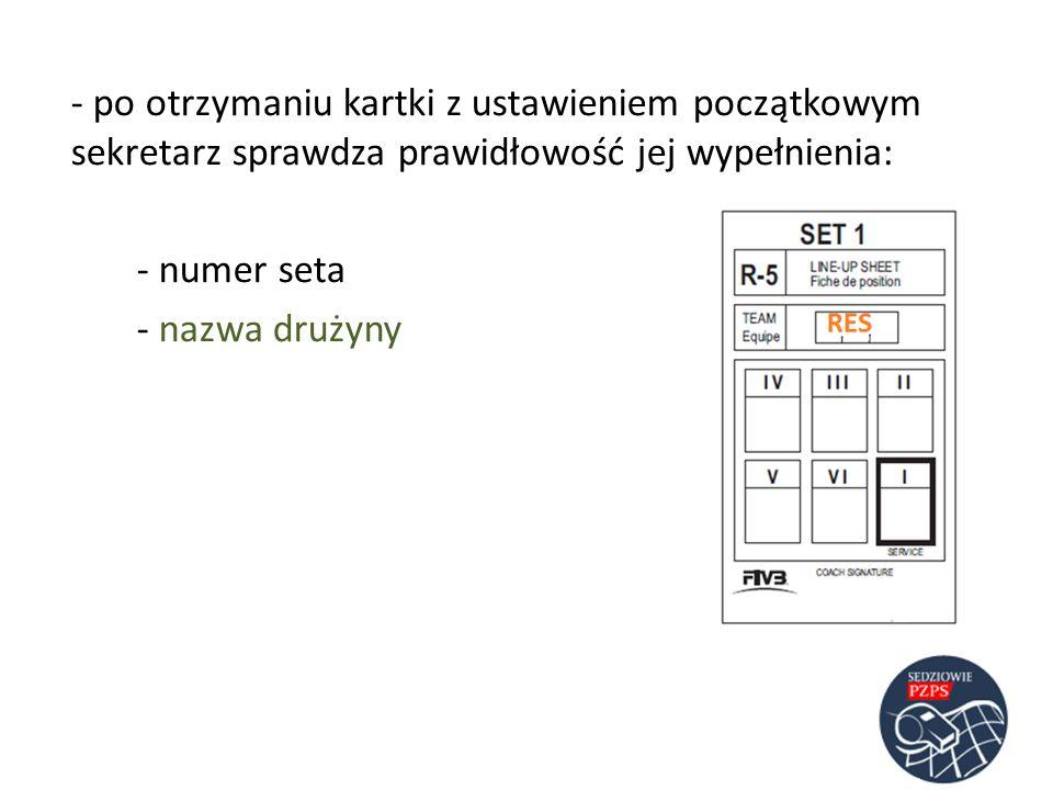 - po otrzymaniu kartki z ustawieniem początkowym sekretarz sprawdza prawidłowość jej wypełnienia: - numer seta - nazwa drużyny
