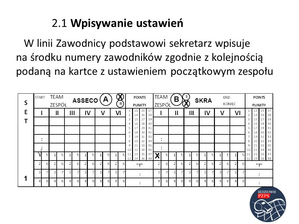2.1 Wpisywanie ustawień W linii Zawodnicy podstawowi sekretarz wpisuje na środku numery zawodników zgodnie z kolejnością podaną na kartce z ustawienie