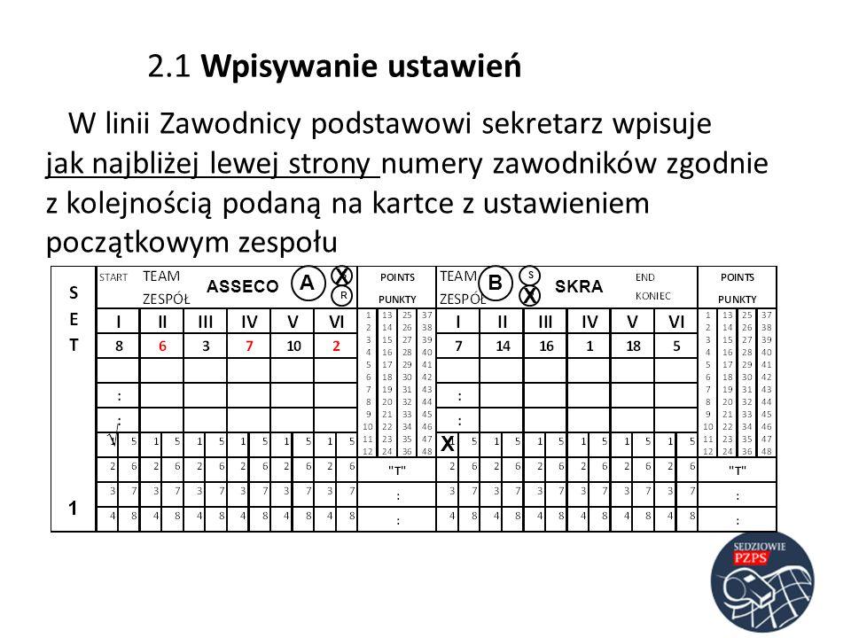 2.1 Wpisywanie ustawień W linii Zawodnicy podstawowi sekretarz wpisuje jak najbliżej lewej strony numery zawodników zgodnie z kolejnością podaną na ka